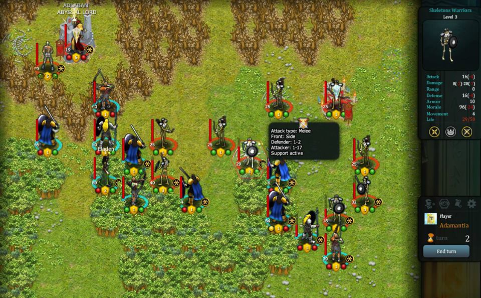 Elven Guardians attacks a unit of skeleton warriors that, as written in the battle prediction window, has the defensive support of an adjacent unit of skeleton archers.