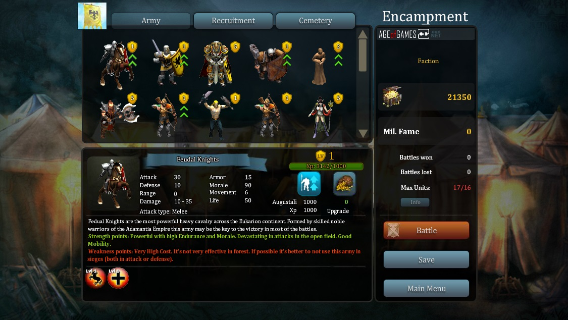 Welcome in the Encampment Kommander! Here you can buy, sell, upgrade (or resurrect!) the units of your army.